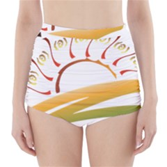 Sunset Spring Graphic Red Gold Orange Green High-waisted Bikini Bottoms by Alisyart