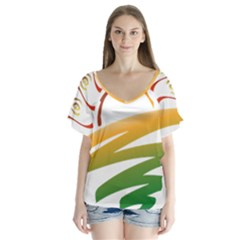 Sunset Spring Graphic Red Gold Orange Green Flutter Sleeve Top