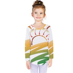 Sunset Spring Graphic Red Gold Orange Green Kids  Long Sleeve Tee by Alisyart