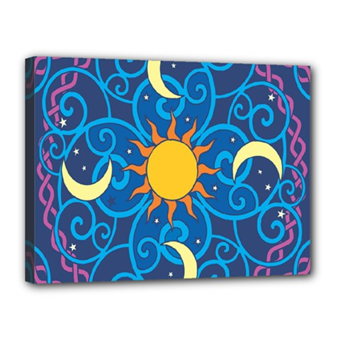 Sun Moon Star Space Purple Pink Blue Yellow Wave Canvas 16  X 12  by Alisyart
