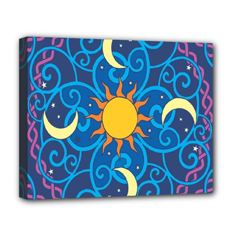 Sun Moon Star Space Purple Pink Blue Yellow Wave Deluxe Canvas 20  X 16