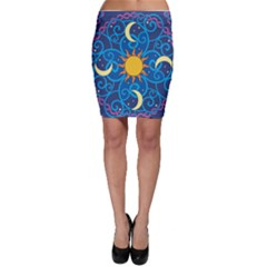 Sun Moon Star Space Purple Pink Blue Yellow Wave Bodycon Skirt by Alisyart