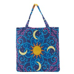 Sun Moon Star Space Purple Pink Blue Yellow Wave Grocery Tote Bag by Alisyart