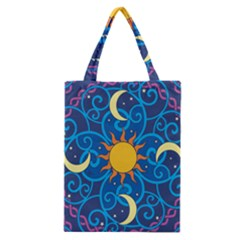 Sun Moon Star Space Purple Pink Blue Yellow Wave Classic Tote Bag by Alisyart