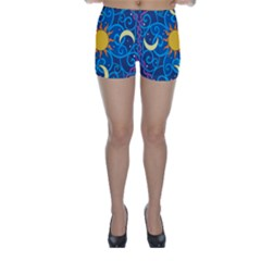 Sun Moon Star Space Purple Pink Blue Yellow Wave Skinny Shorts by Alisyart