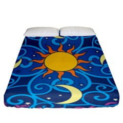 Sun Moon Star Space Purple Pink Blue Yellow Wave Fitted Sheet (king Size) by Alisyart