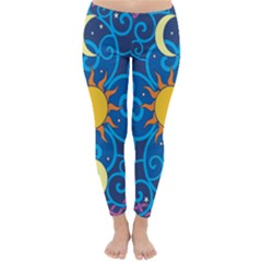 Sun Moon Star Space Purple Pink Blue Yellow Wave Classic Winter Leggings
