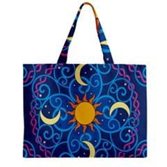 Sun Moon Star Space Purple Pink Blue Yellow Wave Zipper Mini Tote Bag by Alisyart