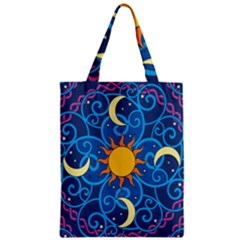 Sun Moon Star Space Purple Pink Blue Yellow Wave Zipper Classic Tote Bag by Alisyart