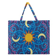 Sun Moon Star Space Purple Pink Blue Yellow Wave Zipper Large Tote Bag by Alisyart