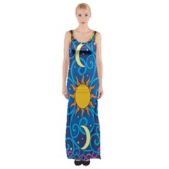 Sun Moon Star Space Purple Pink Blue Yellow Wave Maxi Thigh Split Dress by Alisyart