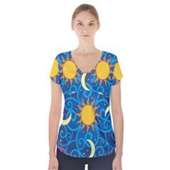 Sun Moon Star Space Purple Pink Blue Yellow Wave Short Sleeve Front Detail Top by Alisyart