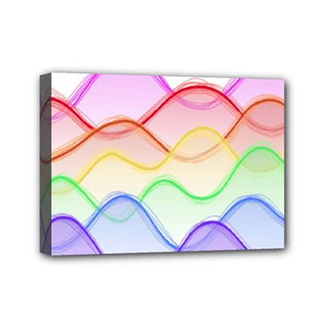 Twizzling Brain Waves Neon Wave Rainbow Color Pink Red Yellow Green Purple Blue Mini Canvas 7  X 5  by Alisyart