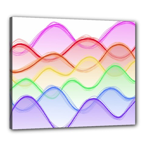 Twizzling Brain Waves Neon Wave Rainbow Color Pink Red Yellow Green Purple Blue Canvas 24  X 20  by Alisyart