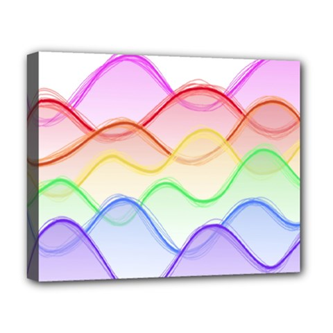 Twizzling Brain Waves Neon Wave Rainbow Color Pink Red Yellow Green Purple Blue Deluxe Canvas 20  X 16   by Alisyart