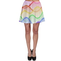 Twizzling Brain Waves Neon Wave Rainbow Color Pink Red Yellow Green Purple Blue Skater Skirt by Alisyart