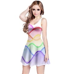 Twizzling Brain Waves Neon Wave Rainbow Color Pink Red Yellow Green Purple Blue Reversible Sleeveless Dress