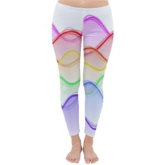 Twizzling Brain Waves Neon Wave Rainbow Color Pink Red Yellow Green Purple Blue Classic Winter Leggings