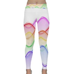 Twizzling Brain Waves Neon Wave Rainbow Color Pink Red Yellow Green Purple Blue Classic Yoga Leggings by Alisyart