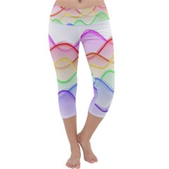 Twizzling Brain Waves Neon Wave Rainbow Color Pink Red Yellow Green Purple Blue Capri Yoga Leggings by Alisyart