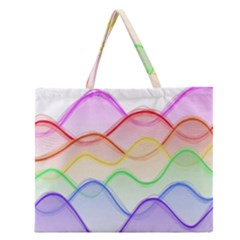 Twizzling Brain Waves Neon Wave Rainbow Color Pink Red Yellow Green Purple Blue Zipper Large Tote Bag by Alisyart
