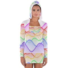 Twizzling Brain Waves Neon Wave Rainbow Color Pink Red Yellow Green Purple Blue Women s Long Sleeve Hooded T Shirt