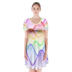 Twizzling Brain Waves Neon Wave Rainbow Color Pink Red Yellow Green Purple Blue Short Sleeve V Neck Flare Dress