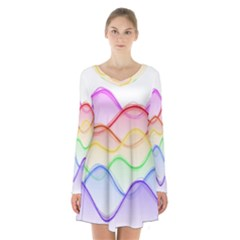 Twizzling Brain Waves Neon Wave Rainbow Color Pink Red Yellow Green Purple Blue Long Sleeve Velvet V-neck Dress
