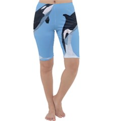 Whale Animals Sea Beach Blue Jump Illustrations Cropped Leggings  by Alisyart