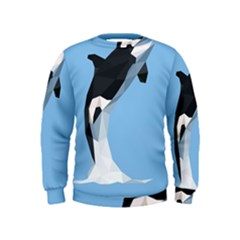 Whale Animals Sea Beach Blue Jump Illustrations Kids  Sweatshirt by Alisyart