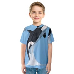 Whale Animals Sea Beach Blue Jump Illustrations Kids  Sport Mesh Tee