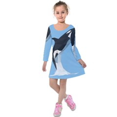 Whale Animals Sea Beach Blue Jump Illustrations Kids  Long Sleeve Velvet Dress by Alisyart