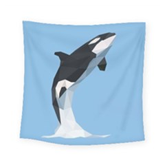 Whale Animals Sea Beach Blue Jump Illustrations Square Tapestry (small)