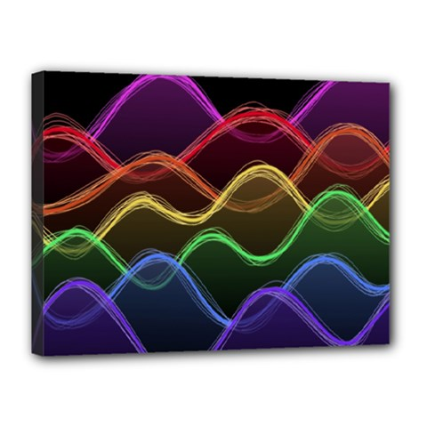 Twizzling Brain Waves Neon Wave Rainbow Color Pink Red Yellow Green Purple Blue Black Canvas 16  X 12  by Alisyart