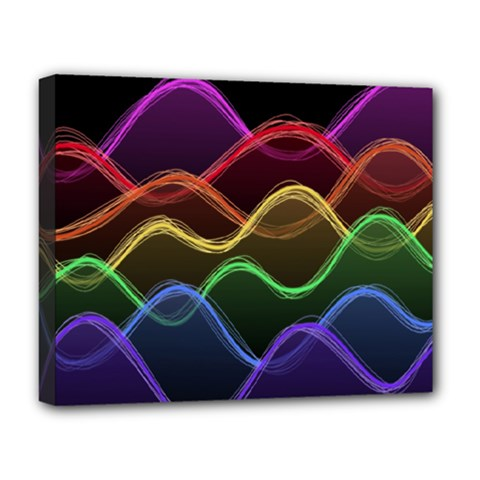 Twizzling Brain Waves Neon Wave Rainbow Color Pink Red Yellow Green Purple Blue Black Deluxe Canvas 20  X 16   by Alisyart