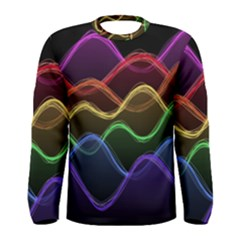 Twizzling Brain Waves Neon Wave Rainbow Color Pink Red Yellow Green Purple Blue Black Men s Long Sleeve Tee