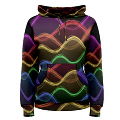 Twizzling Brain Waves Neon Wave Rainbow Color Pink Red Yellow Green Purple Blue Black Women s Pullover Hoodie