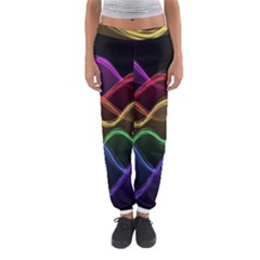 Twizzling Brain Waves Neon Wave Rainbow Color Pink Red Yellow Green Purple Blue Black Women s Jogger Sweatpants by Alisyart