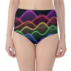 Twizzling Brain Waves Neon Wave Rainbow Color Pink Red Yellow Green Purple Blue Black High-waist Bikini Bottoms by Alisyart