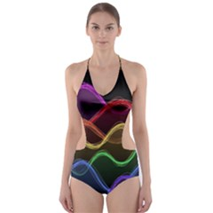 Twizzling Brain Waves Neon Wave Rainbow Color Pink Red Yellow Green Purple Blue Black Cut Out One Piece Swimsuit by Alisyart