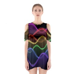 Twizzling Brain Waves Neon Wave Rainbow Color Pink Red Yellow Green Purple Blue Black Shoulder Cutout One Piece