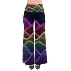 Twizzling Brain Waves Neon Wave Rainbow Color Pink Red Yellow Green Purple Blue Black Pants by Alisyart