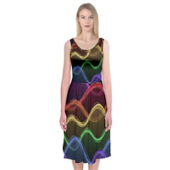 Twizzling Brain Waves Neon Wave Rainbow Color Pink Red Yellow Green Purple Blue Black Midi Sleeveless Dress by Alisyart