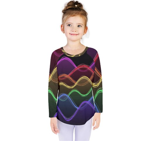 Twizzling Brain Waves Neon Wave Rainbow Color Pink Red Yellow Green Purple Blue Black Kids  Long Sleeve Tee by Alisyart