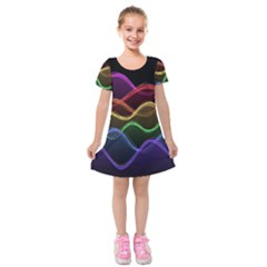 Twizzling Brain Waves Neon Wave Rainbow Color Pink Red Yellow Green Purple Blue Black Kids  Short Sleeve Velvet Dress by Alisyart