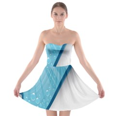 Water Bubble Waves Blue Wave Strapless Bra Top Dress by Alisyart