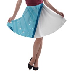Water Bubble Waves Blue Wave A Line Skater Skirt by Alisyart