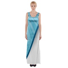 Water Bubble Waves Blue Wave Maxi Thigh Split Dress by Alisyart