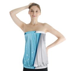 Water Bubble Waves Blue Wave Strapless Top