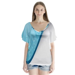 Water Bubble Waves Blue Wave Flutter Sleeve Top